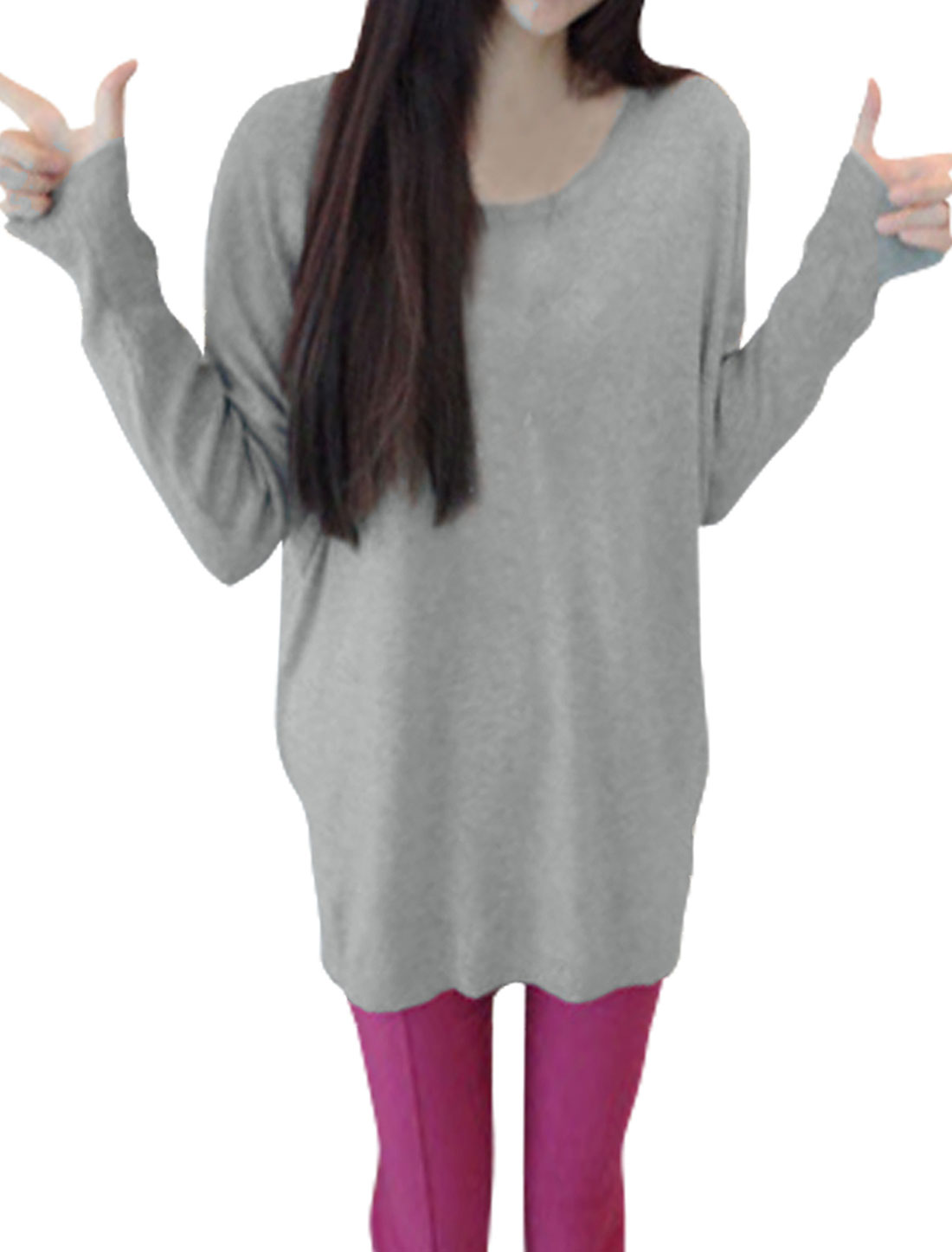 Lady Scoop Neck Long Sleeved Gray Knit Tunic Shirt XS
