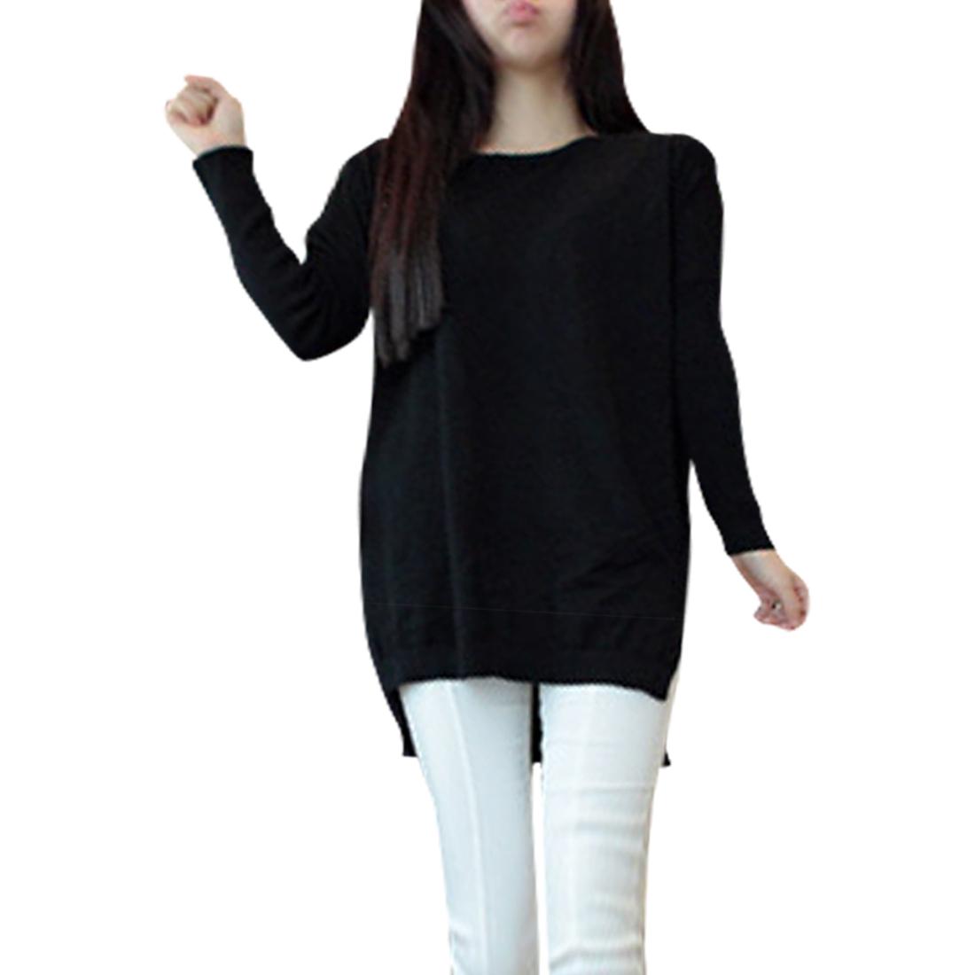 Women Pullover Batwing Sleeves Black Knit Tunic Shirt XS