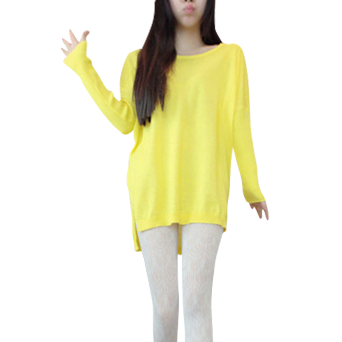 Ladies Stretchy Scoop Neck Yellow Knitted Tunic Shirt XS