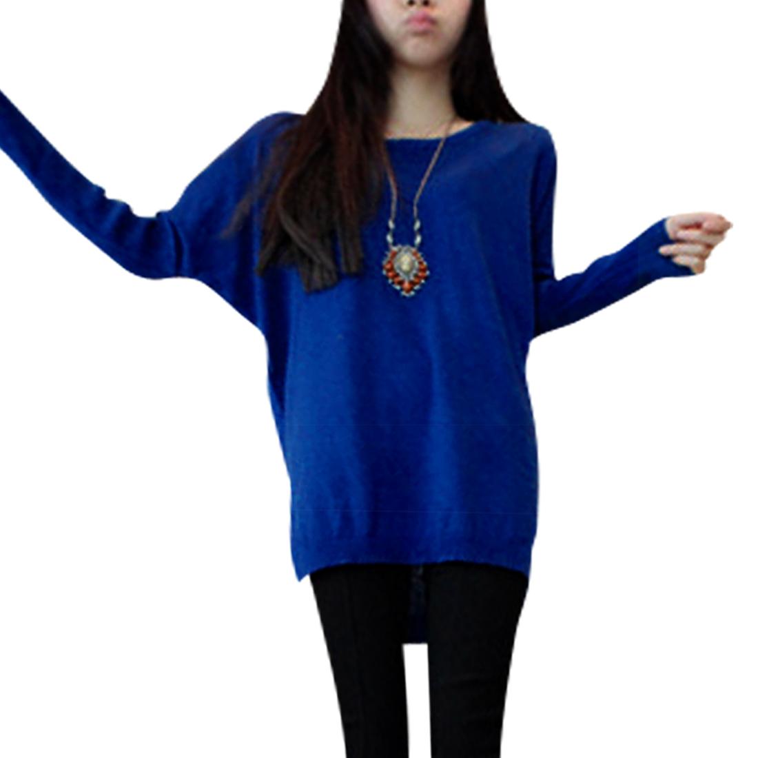 Women Loose Batwing Sleeve Royal Blue Knit Tunic Shirt XS