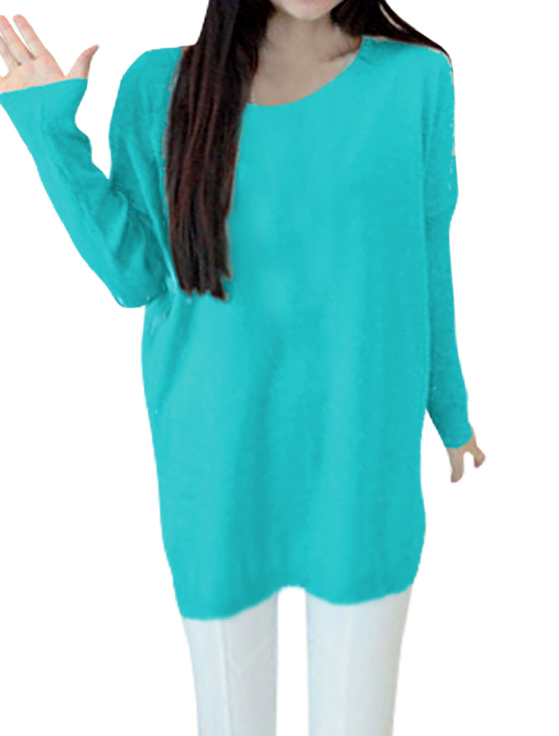 Lady Scoop Neck Batwing Sleeved Loose Aqua Knit Tunic Shirt XS