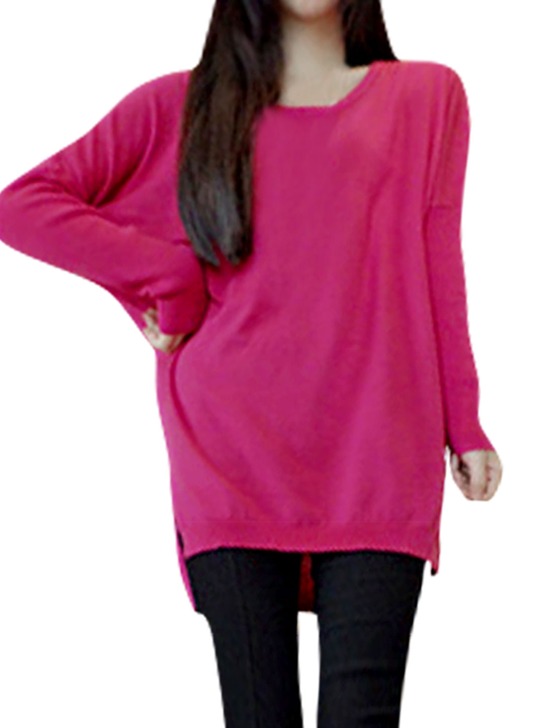Women Stretchy Scoop Neck Loose Fuchsia Knit Tunic Shirt XS