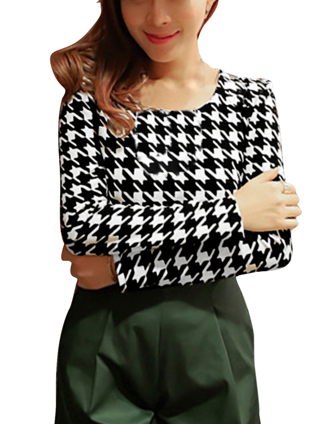 Bodycon Black White Long Sleeved Houndstooth Pattern Knit Shirt S