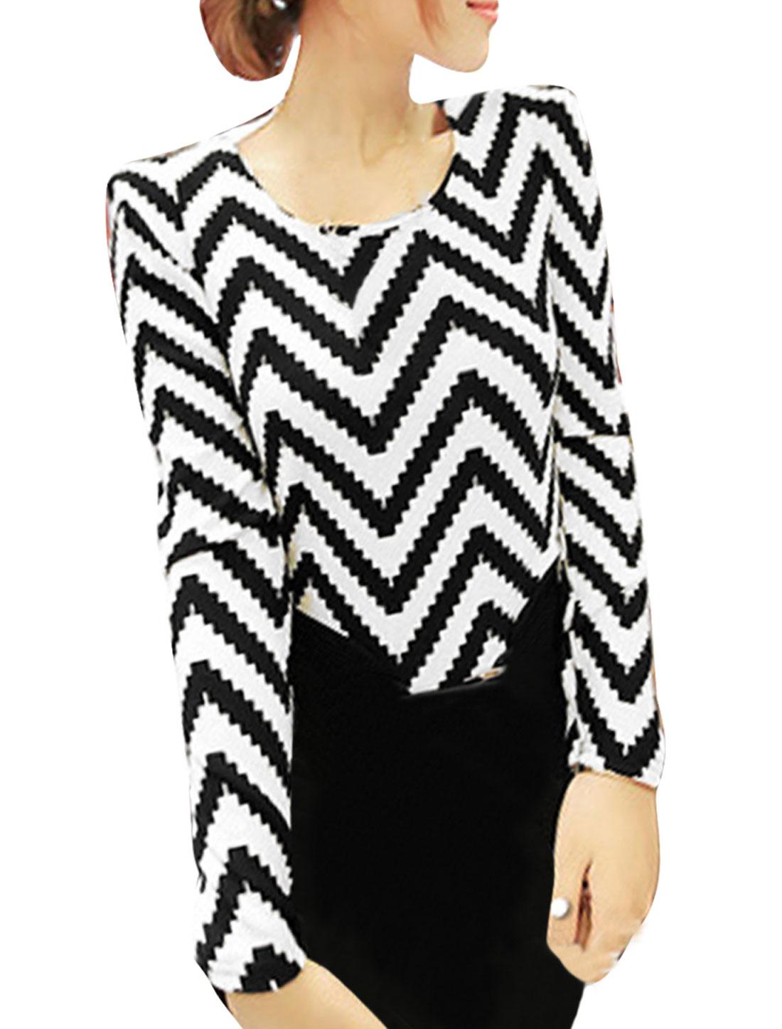 Black White Round Neck Stretchy Zig-Zag Pattern Knit Shirt Lady S