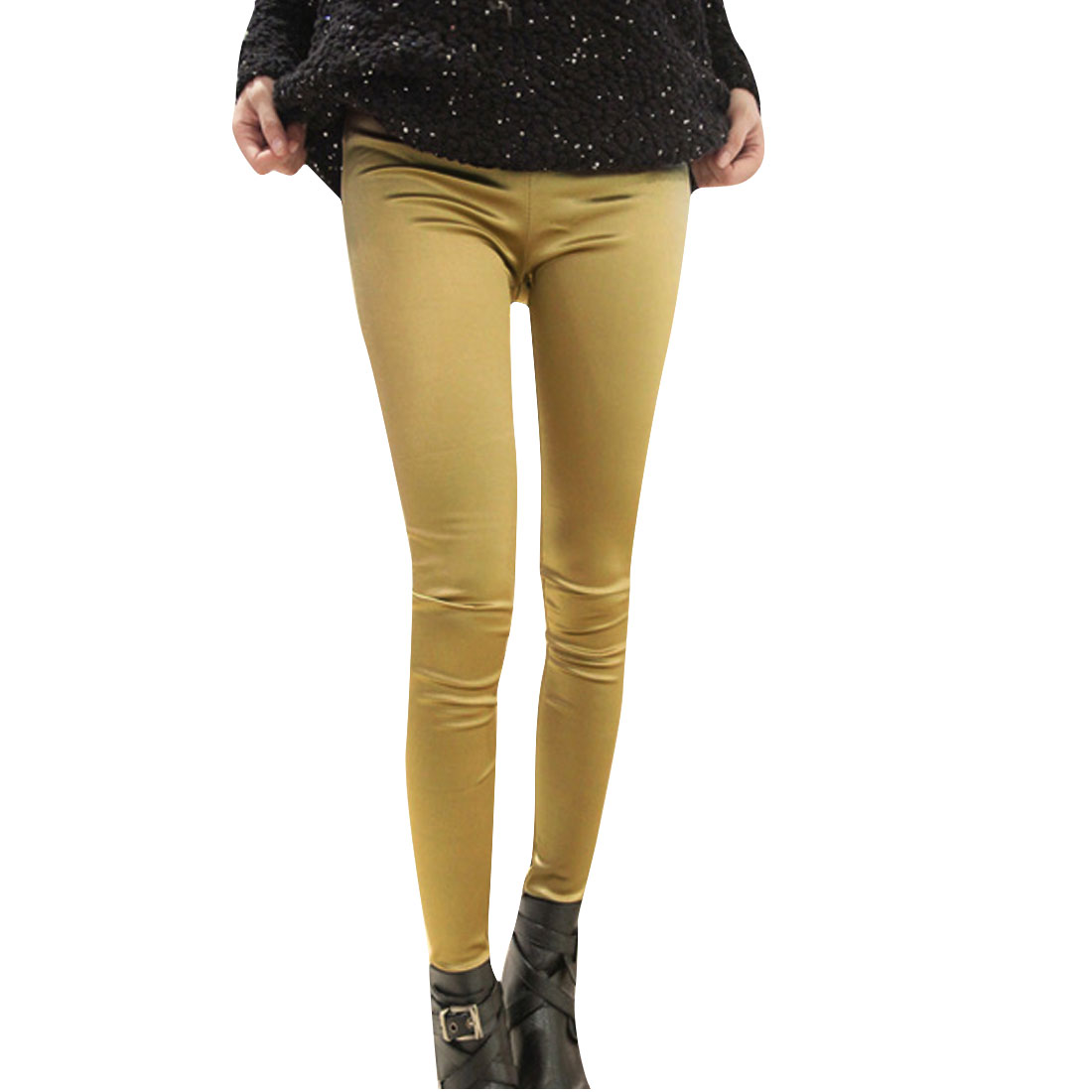 Women Elastic Waist Autumn Leisure Leggings Gold Tone XS