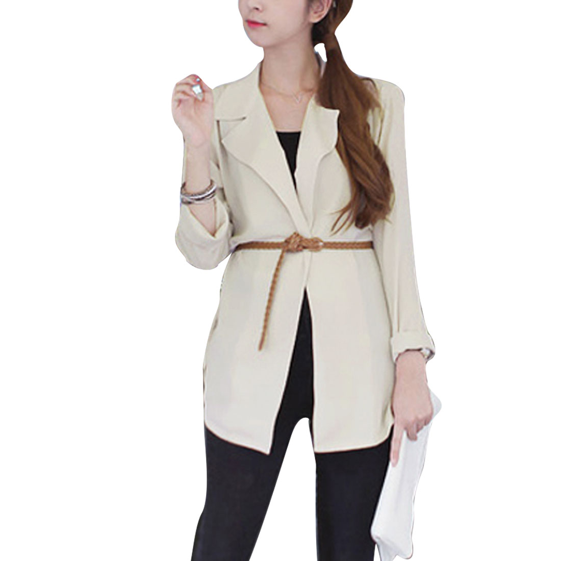 Beige Notched Lapel Front Opening Padded Shoulder Blazer Lady S