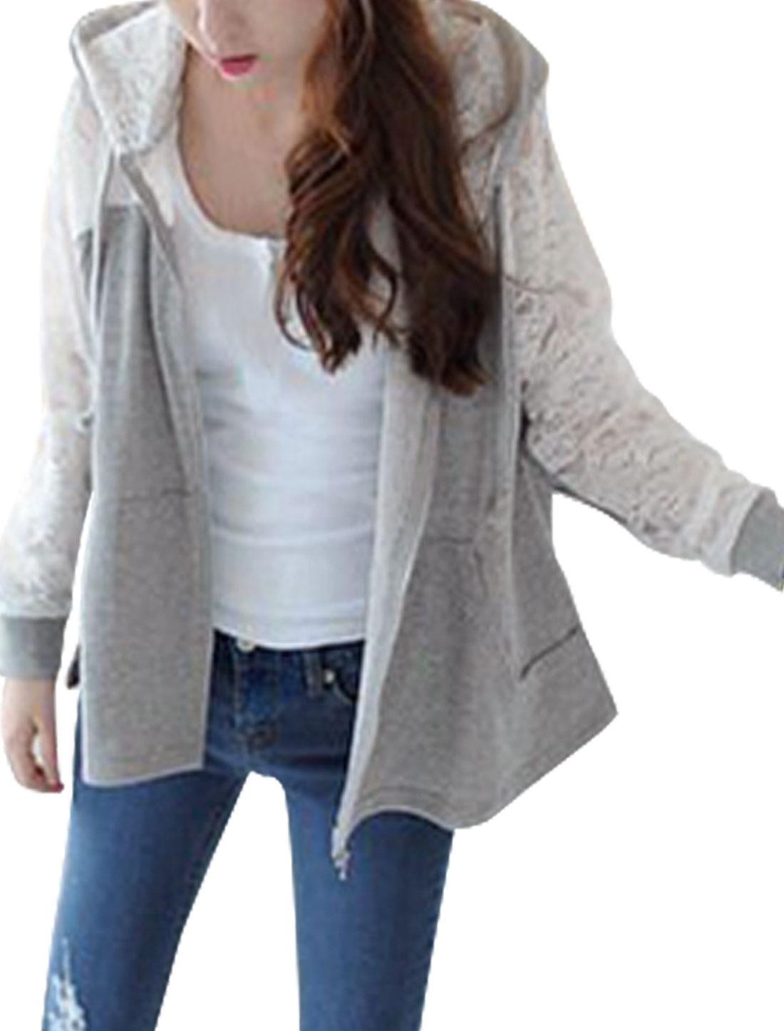 Ladies Long Sleeved Lace Splicing Zip Up Gray Hoodie XS