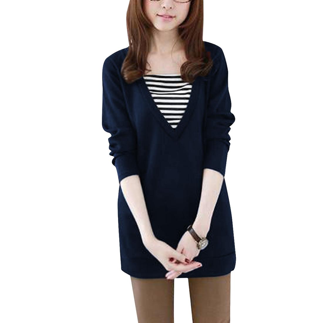 Woman Long Sleeve Stripes Detail Spliced Dark Blue Tunic Shirt XS
