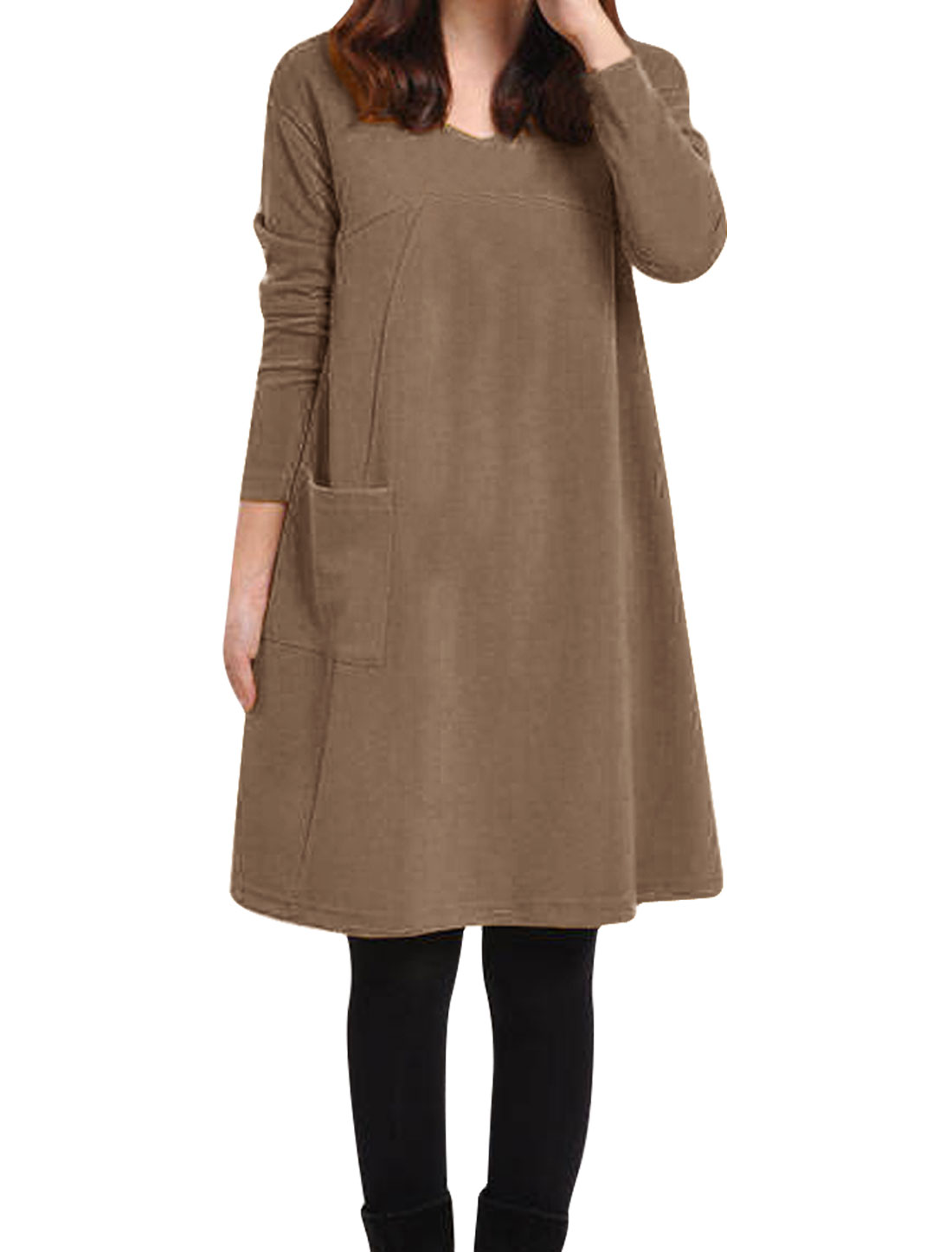 Women Soft V Neck Long Sleeve One Big Pocket Tunic Dress Brown S