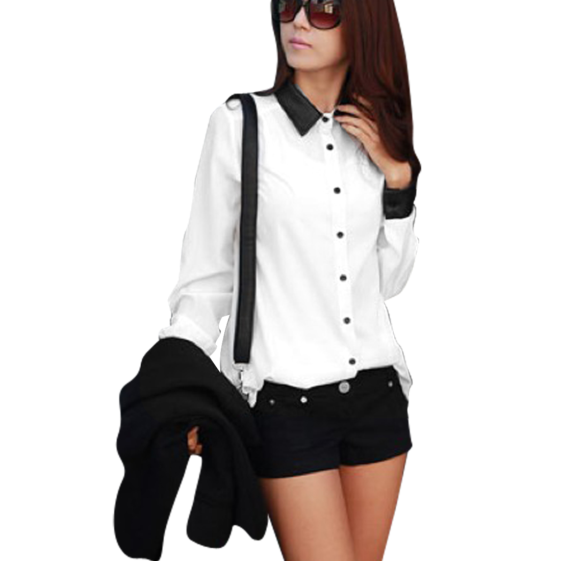 Woman's Spliced Faux Leather Point Collar Single Breasted Chiffon Shirt White S