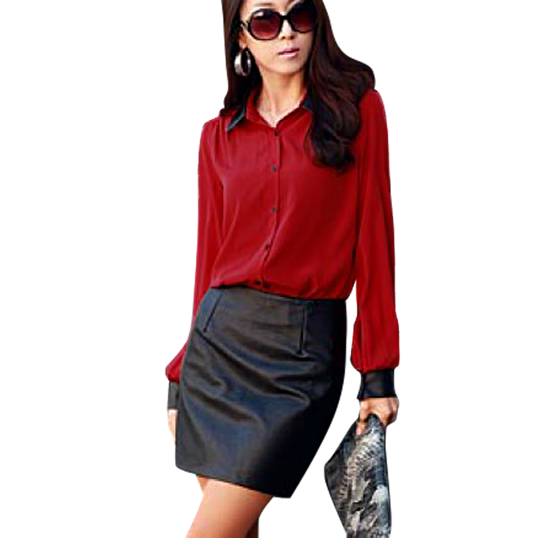 Ladies' Fashionable Faux Leather Point Collar Spliced Red Semi-sheer Shirt XS