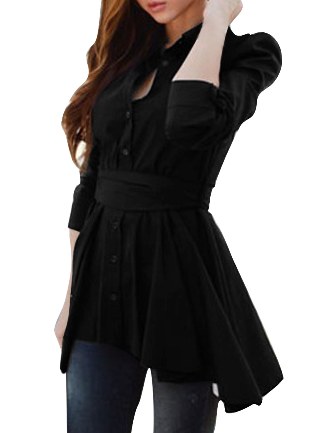 Women's Single Breasted Puff Sleeve Point Collar Long Shirt Black XS
