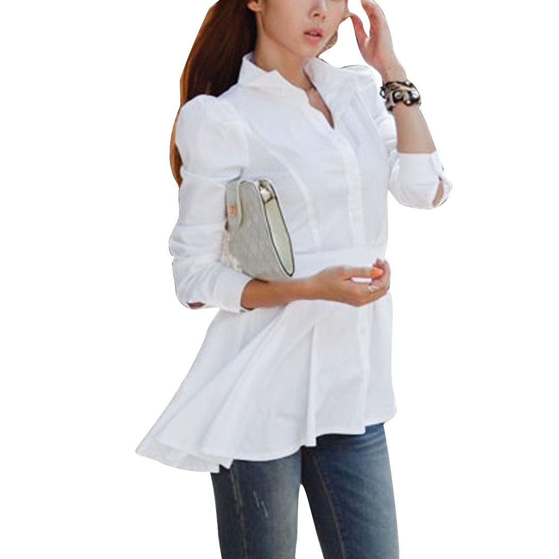 Woman's Single Breasted Long Puff Sleeve Solid White Long Shirt XS