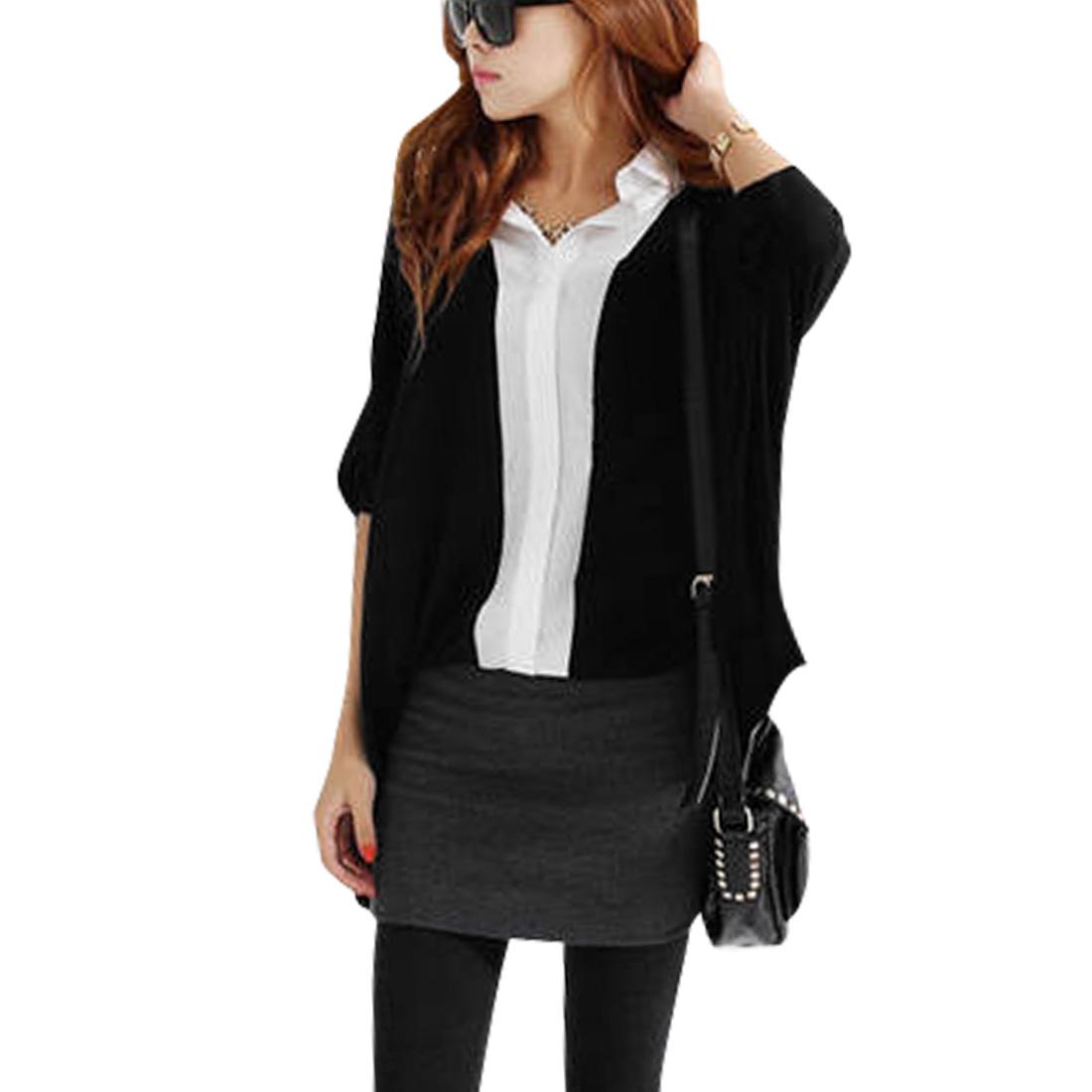 Woman's Point Collar Batwing Sleeves Loose High Low Hem Black Shirt S