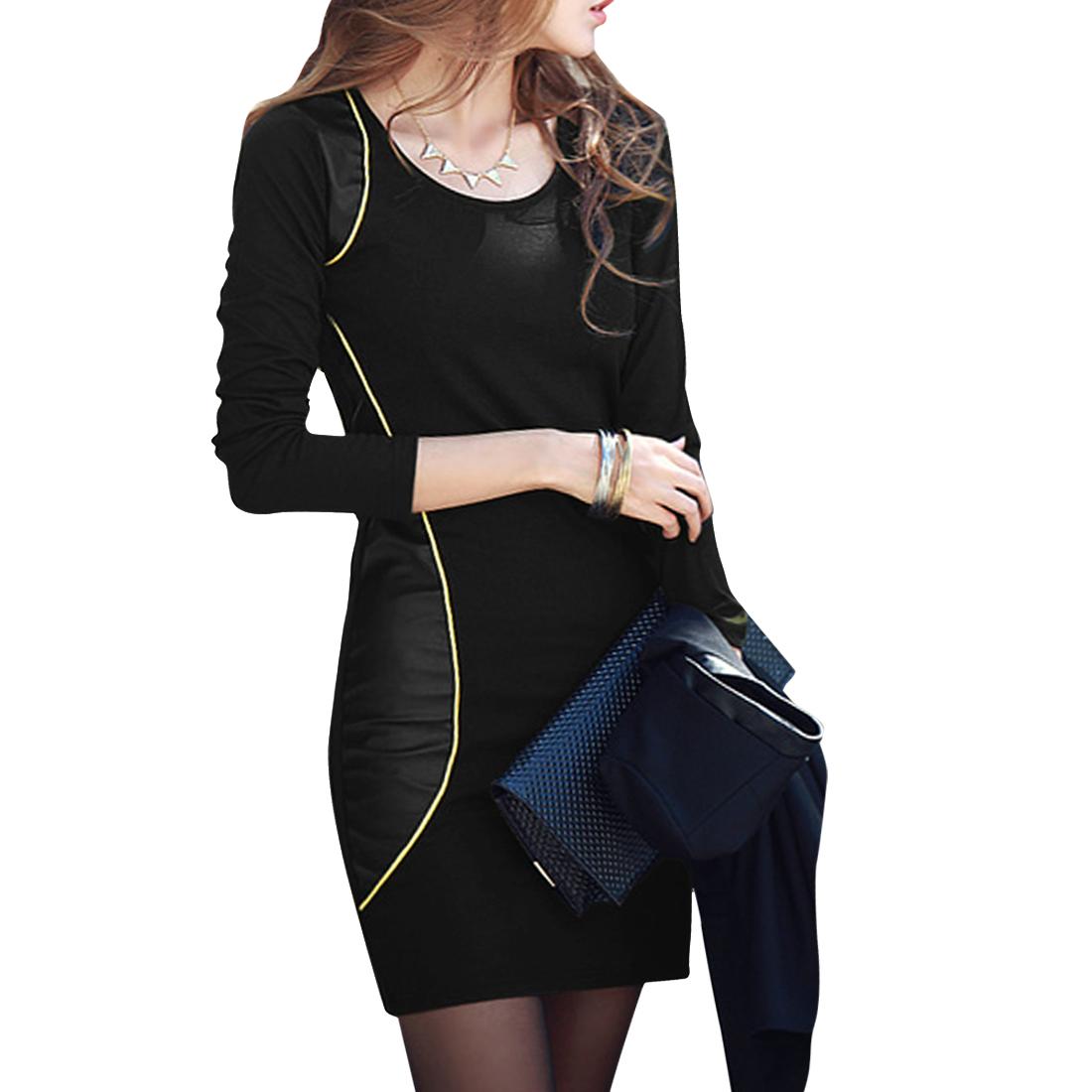 Woman Long Sleeve Imitation Leather Spliced Black Slim Fit Mini Dress XS