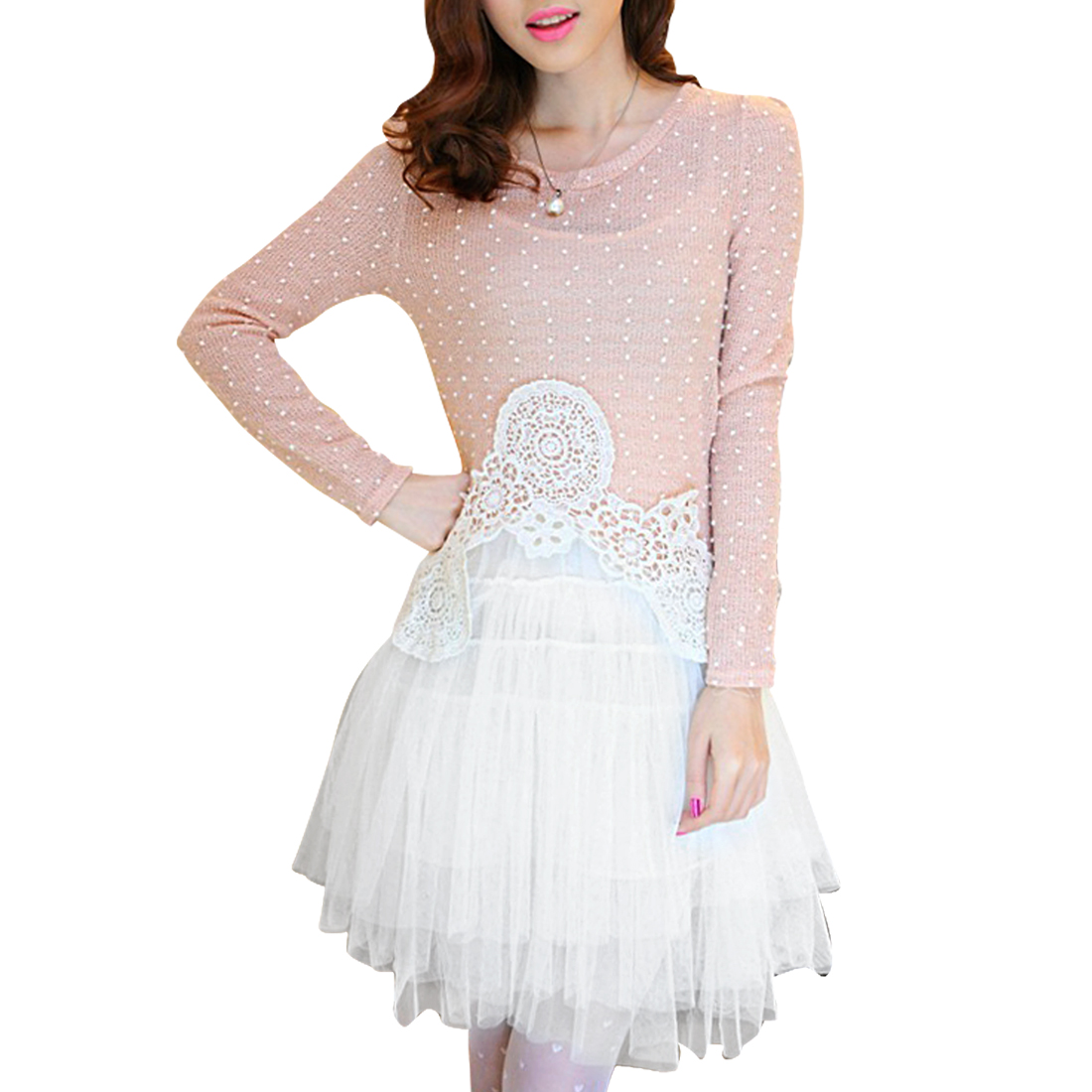 Woman's Pale Pink Dots Pattern Sweater w Tutu Dress Two Piece Set XS