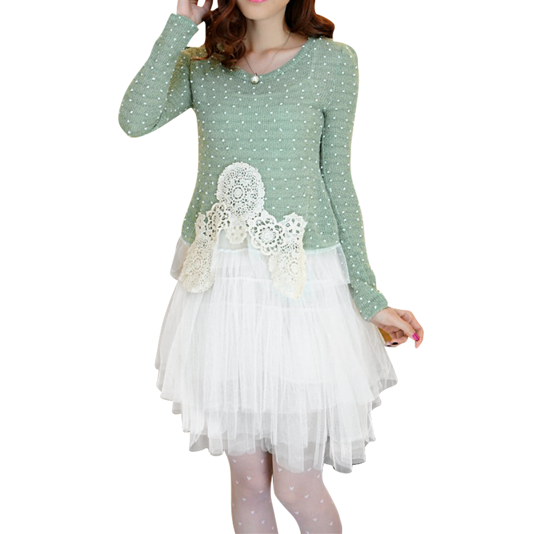 Dots Pattern Green Sweater w Tutu Tank Dress For Lady XS