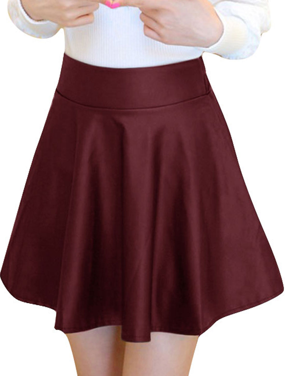 Ladies Elastic Waist Mid Rise Korean Style Winter Skirt Burgundy XS