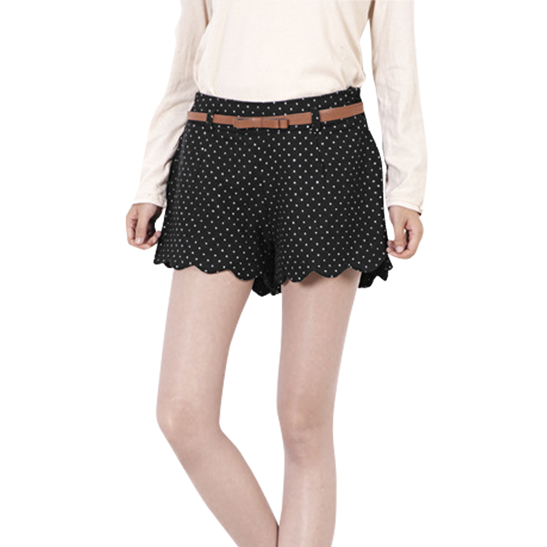 Women Elastic Waist Scalloped Hem Dots Pattern Shorts Black S