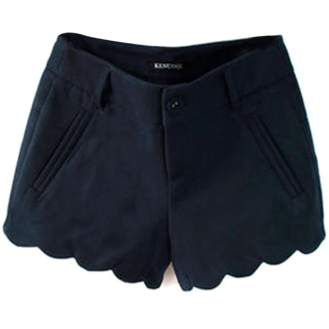 Lady Mid Rise Waistband Loop Zip Up Navy Blue Worsted Shorts S