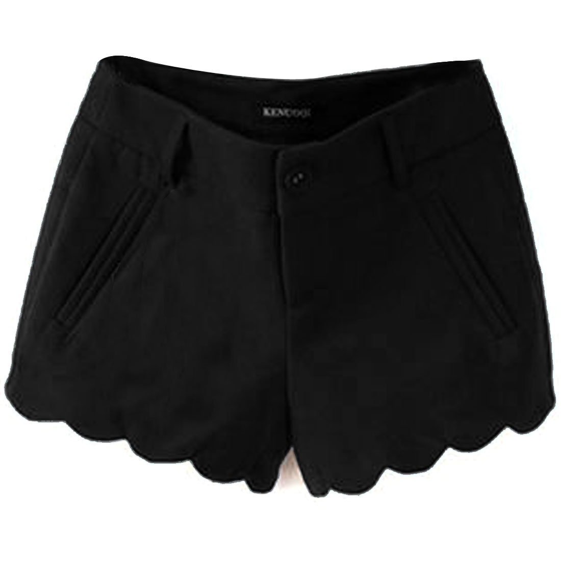 Women Mid Rise Zip Fly Scalloped Hem Worsted Shorts Black S