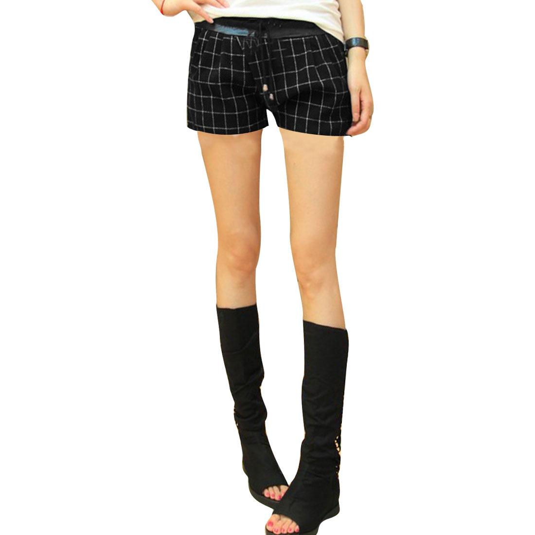 Black Fake Back Pocket Panel Plaids Pattern Autumn Shorts Women S