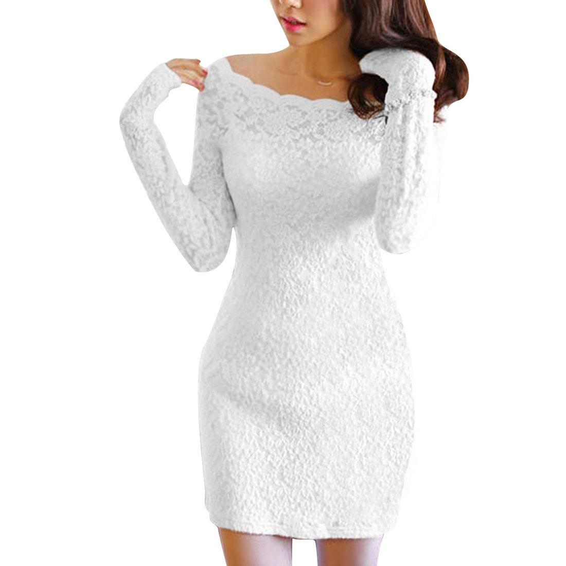 Lady Stylish Slim Boat Neck Long-sleeved Lining White Lace Dress XS