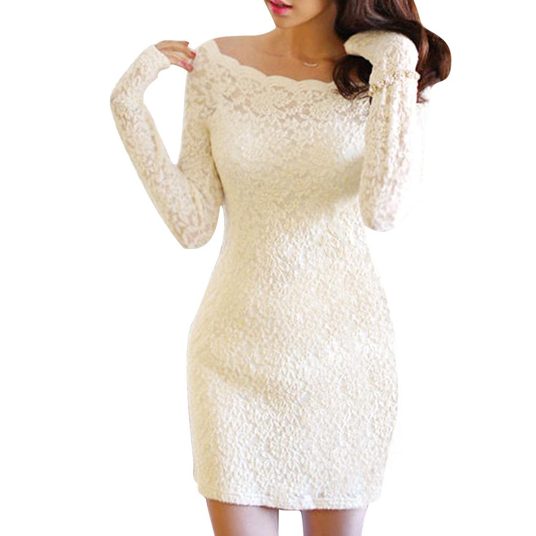 Lady Stylish Slim Boat Neck Long-sleeved Beige Lace Dress XS