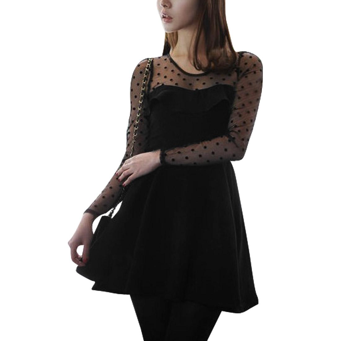Women Scoop Neck Long Sleeved Dots Mesh Splicing Black Sexy Dress XS