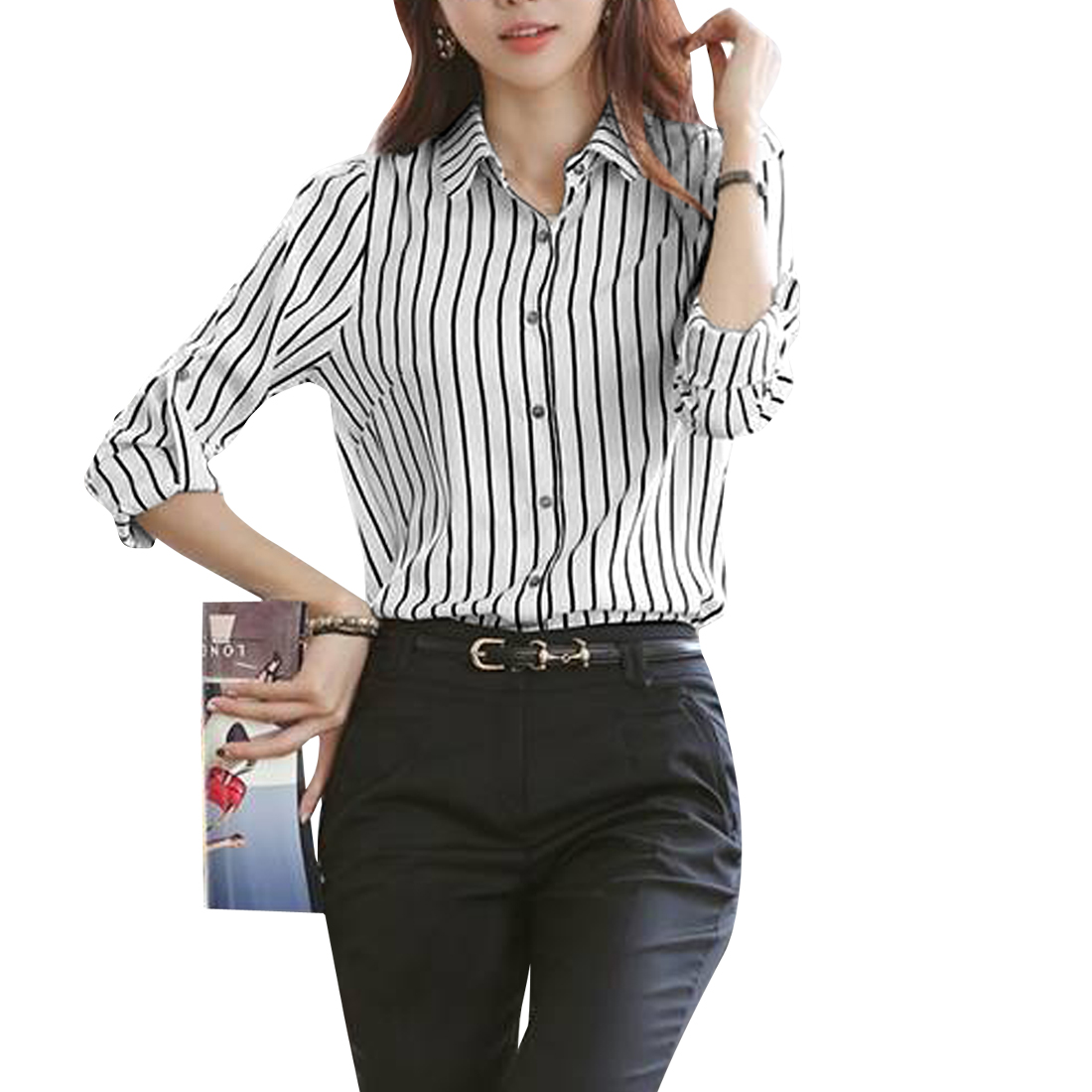 Women Point Collar Button Up Roll Up Sleeve Stripes Shirt White Black S