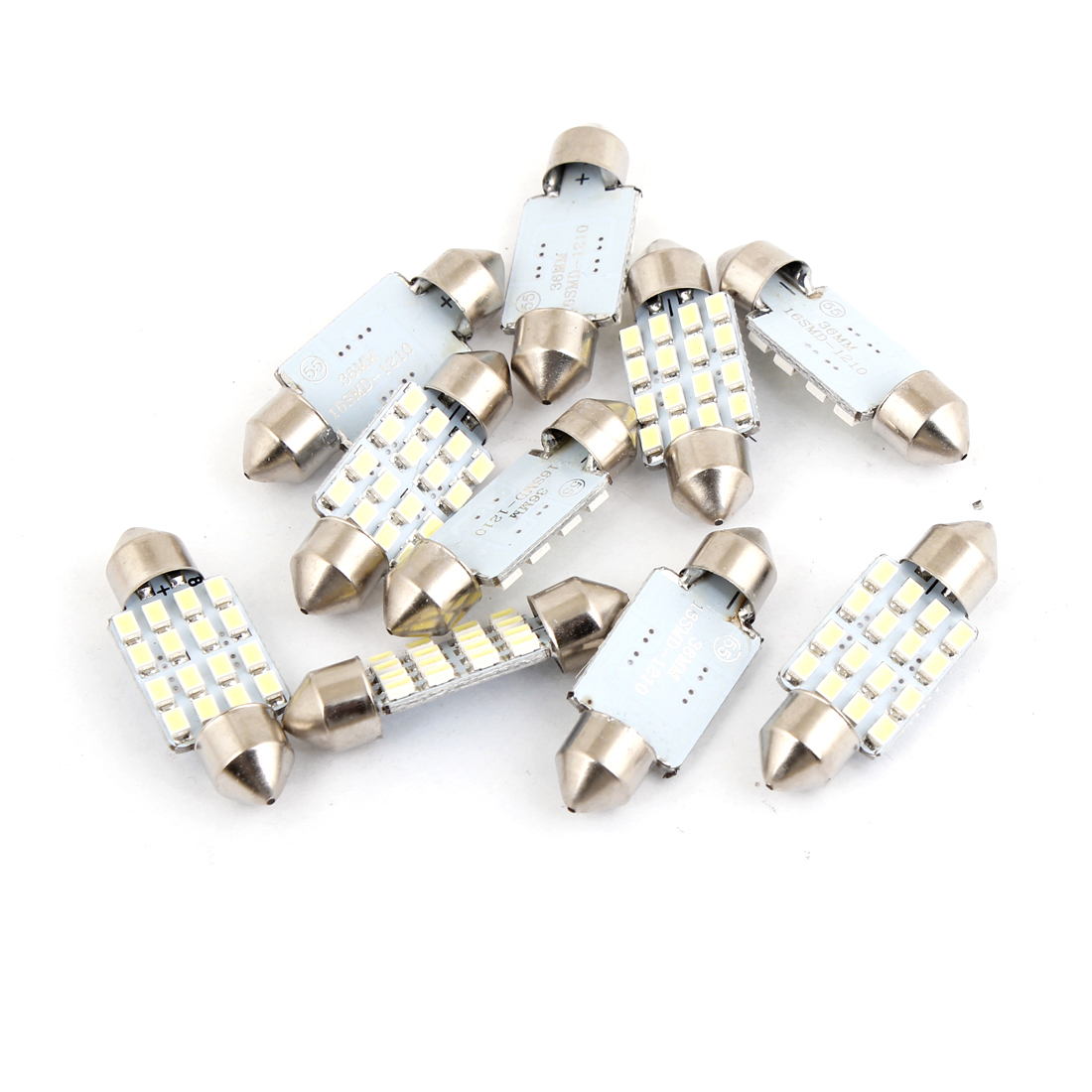 10 Pcs Car Interior White 1210 16 SMD LED Festoon Dome Light Bulb 36mm