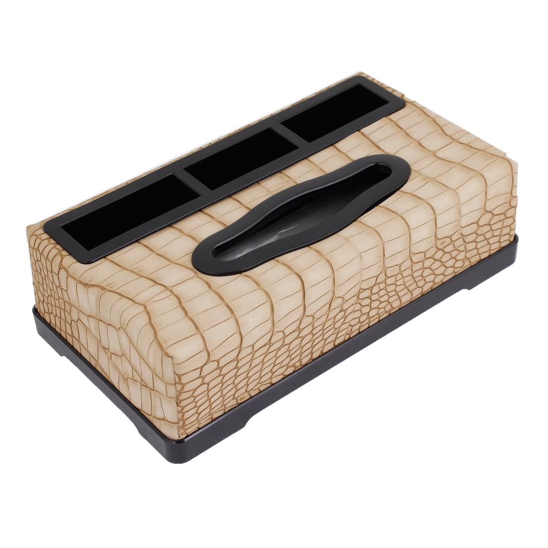 Auto Khaki Plastic Shell Crocodile Pattern Paper Tissue Box Case Holder