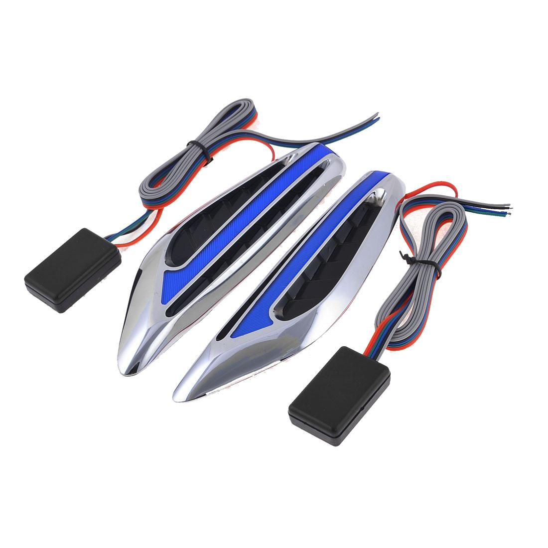 Auto Car Blade Design Silver Tone Case Blue Turn Signal Light x 2