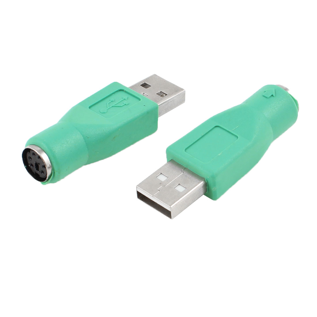 2 Pcs Cyan USB 2.0 Male to PS/2 Female Mouse Keyboard Adapter Connector