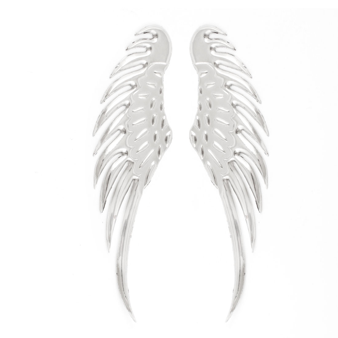 Pair Auto Car Decor Silver Tone Metal Wing Design Adhesive Sticker