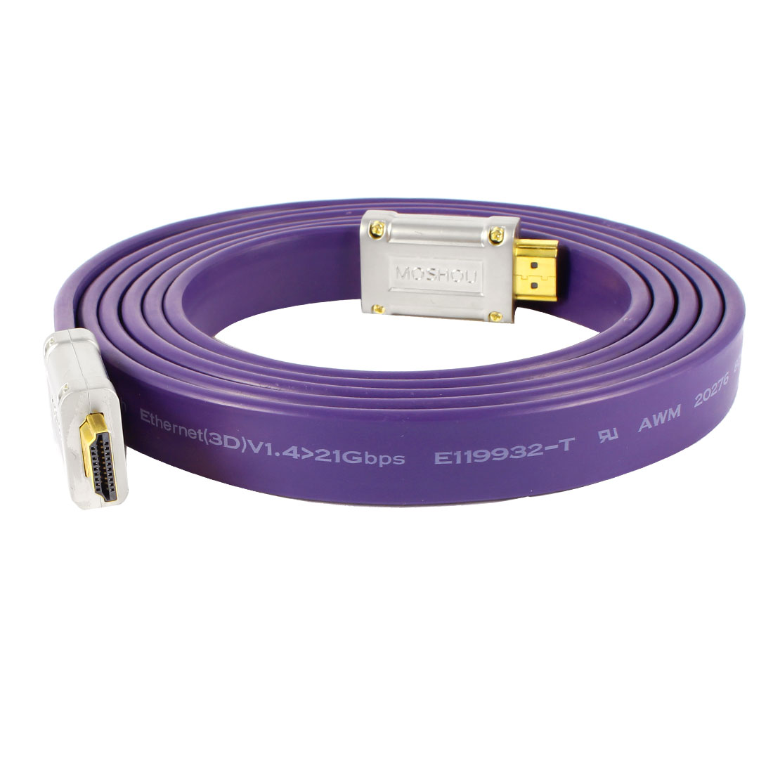 2M 6ft Extension 19 Pin HDMI Male to Male Flat Audio Video Cable Purple