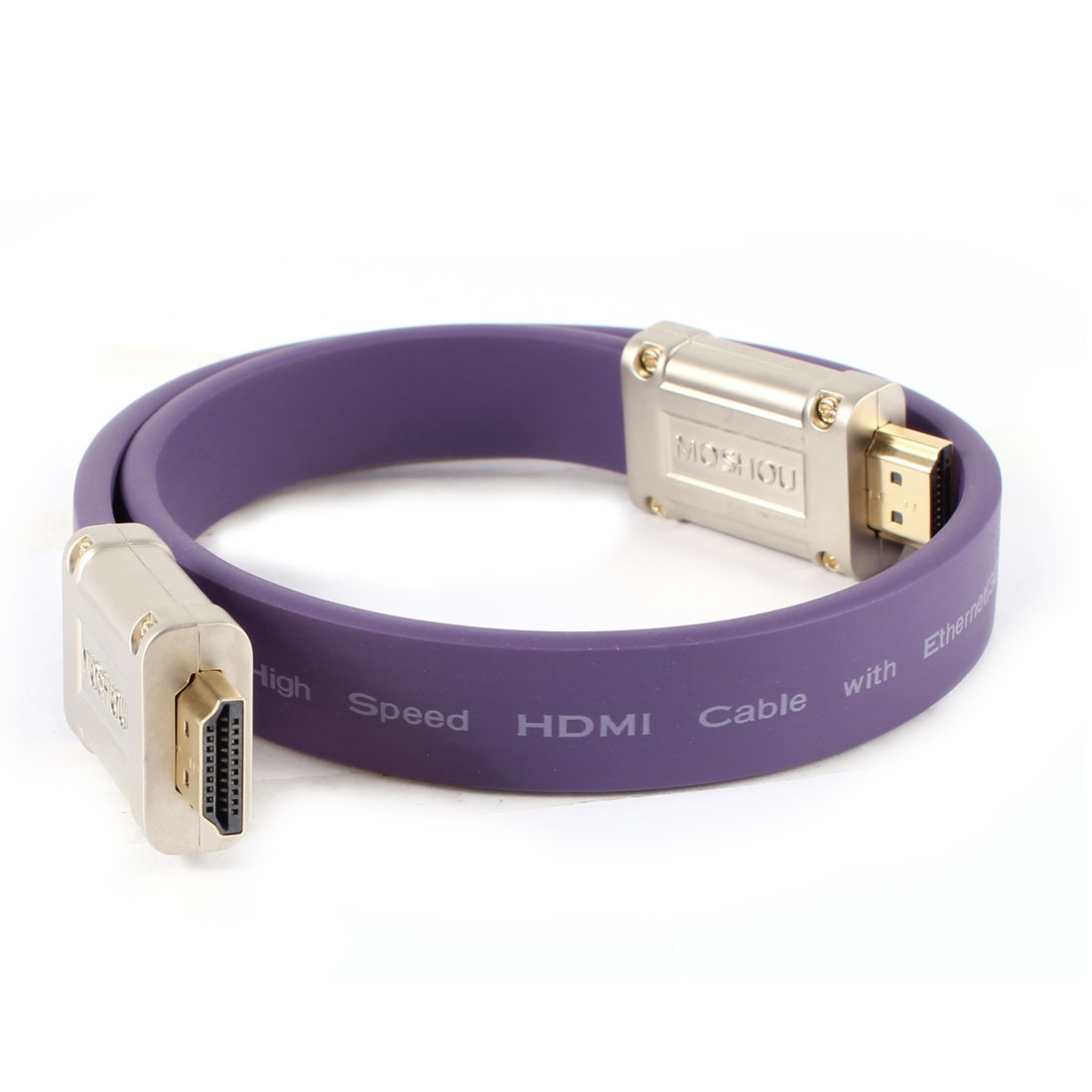 "50cm 20"" Extension 19 Pin HDMI Male to Male HDTV Flat Audio Video Cable Purple"