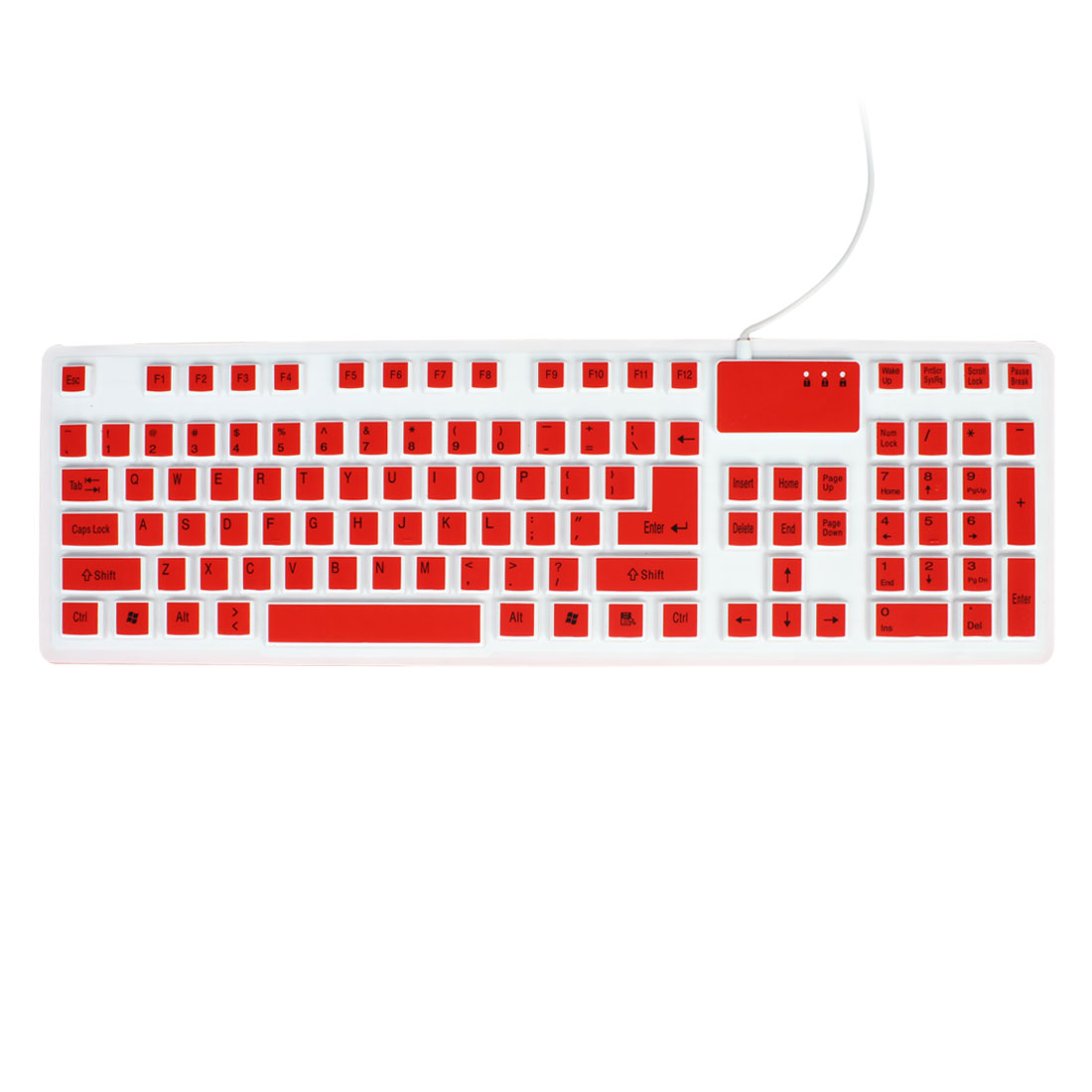 Red White 106 Keys Silicone Roll up Washable Foldable USB Keyboard for PC Laptop