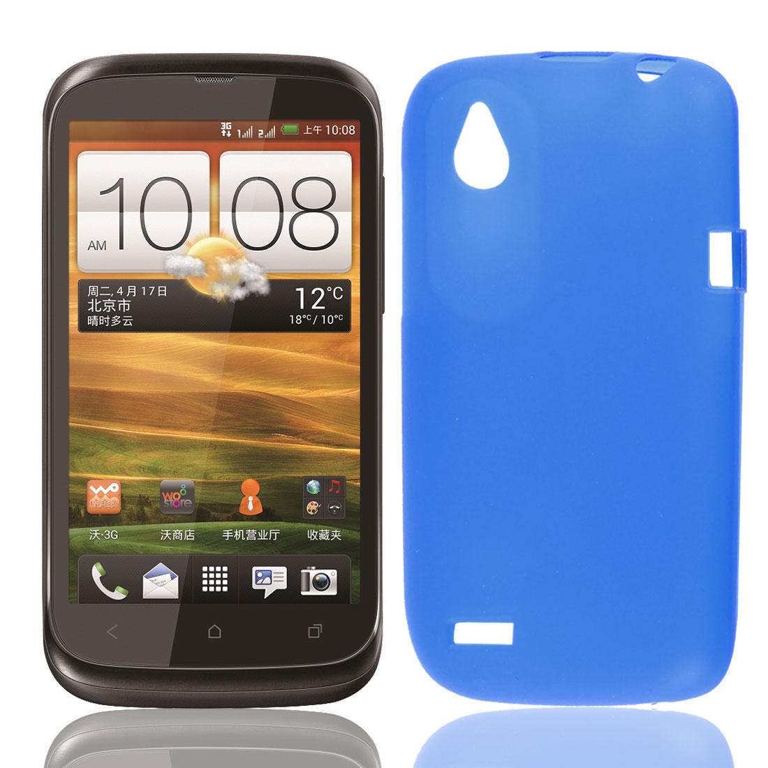Soft Plastic Case Cover Protector Guard Sea Blue for HTC Desire V T328W