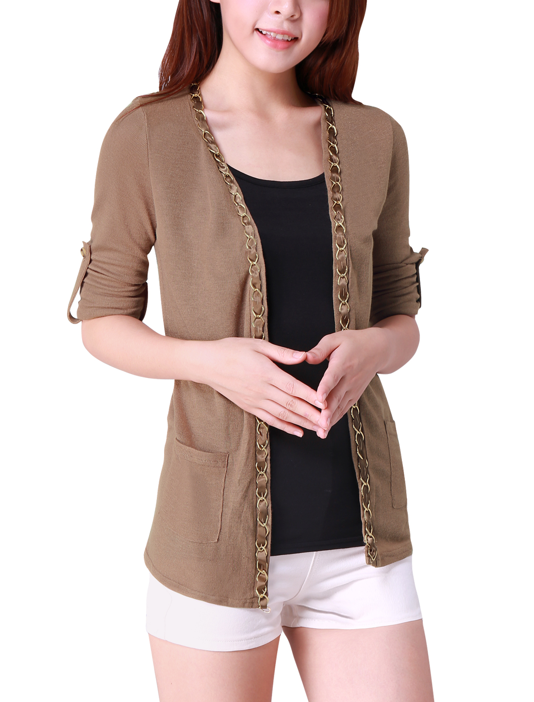 Women Chic Front Opening Metal Chain Design Coffee Color Cardigan XL