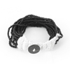 Braided Mulitlayer String Black Bead Decor Bracelet for Ladies