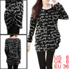 Lady Round Neck Long Sleeve Letter Prints Pullover Black Knit Shirt S
