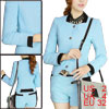 Lady Stand Collar Long Sleeve Jacket & Waistband Loop Light Blue Shorts XS
