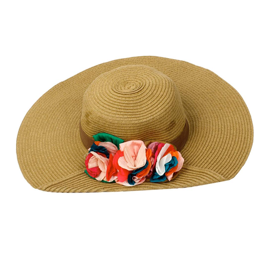 9cm Wide Brim Flower Detailing Summer Beach Hat Olive Green for Women