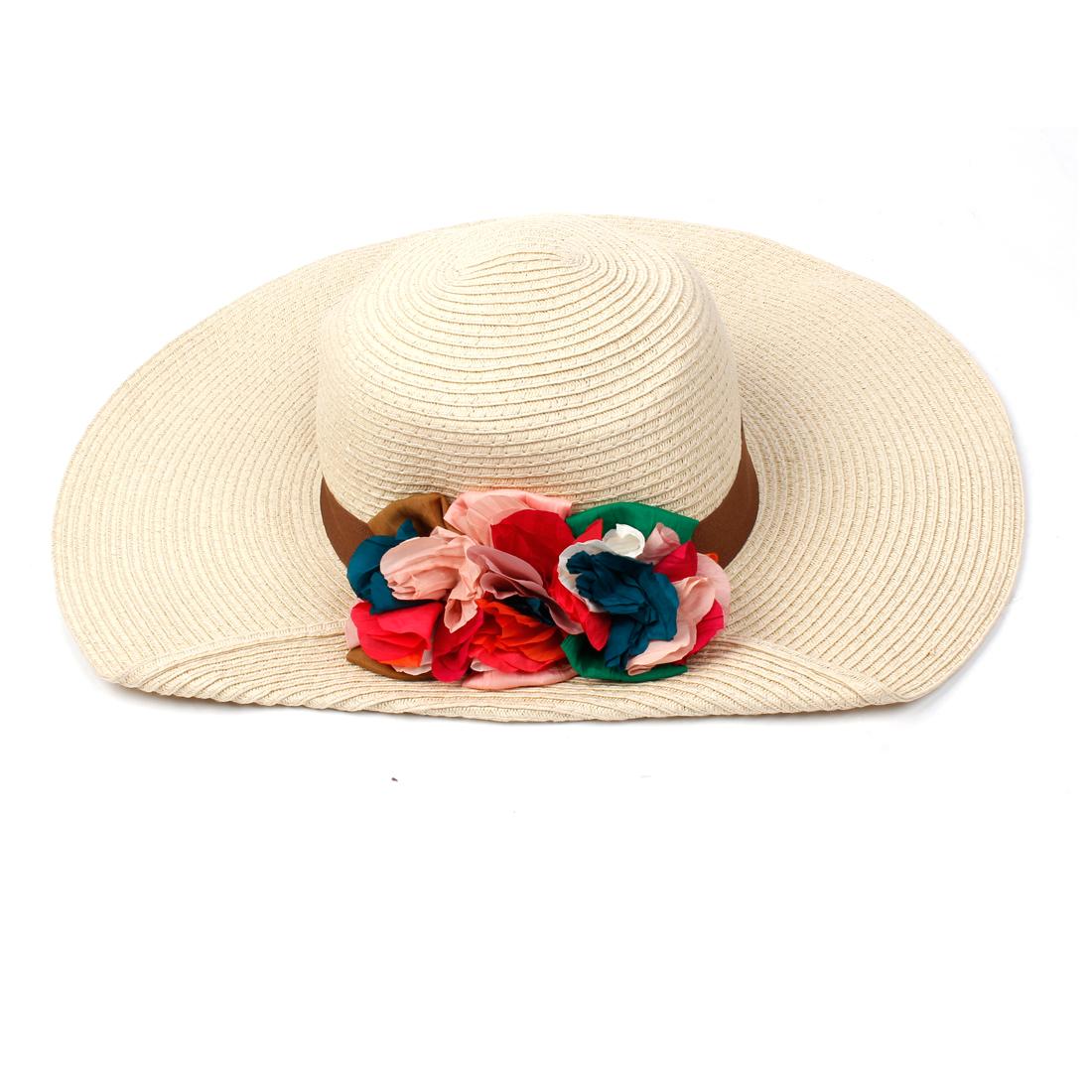 Lady Flower Design Ruched Wide Brim Style Straw Hat Beige