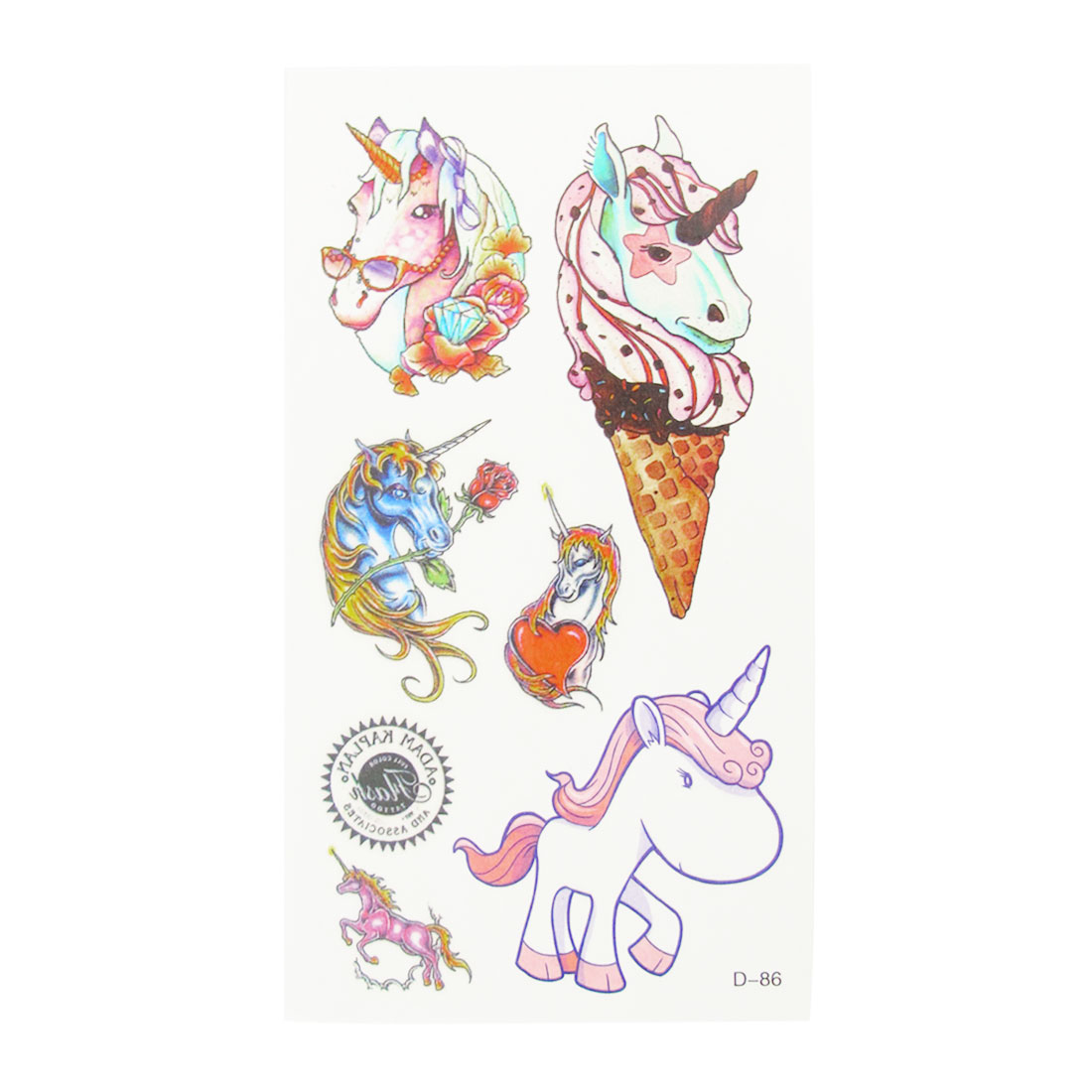 Skin Decorative Colorful Unicorn Pattern Transfer Tattoos Stickers