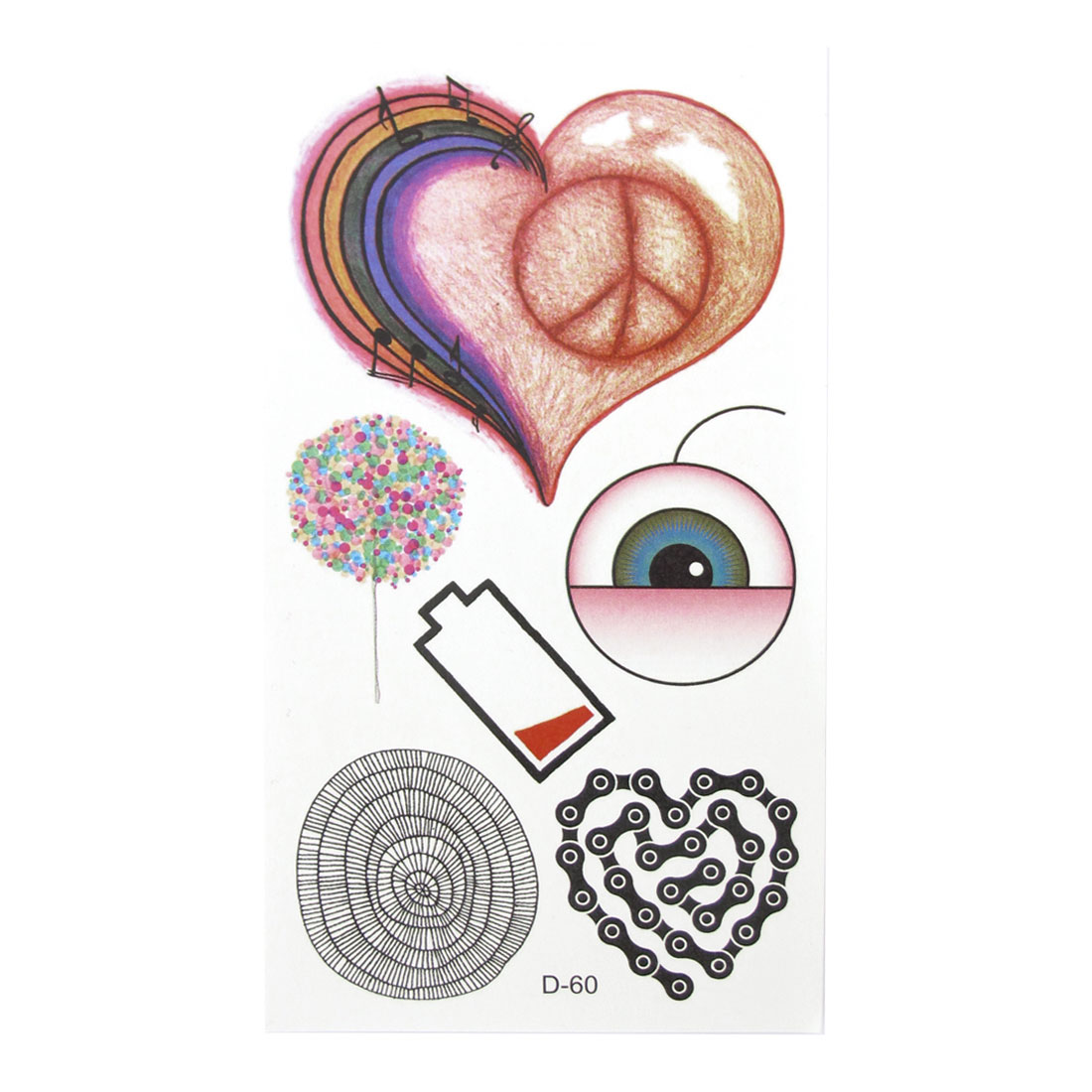 Multicolor Heart Eye Pattern Transfer Tattoos Stickers Decals