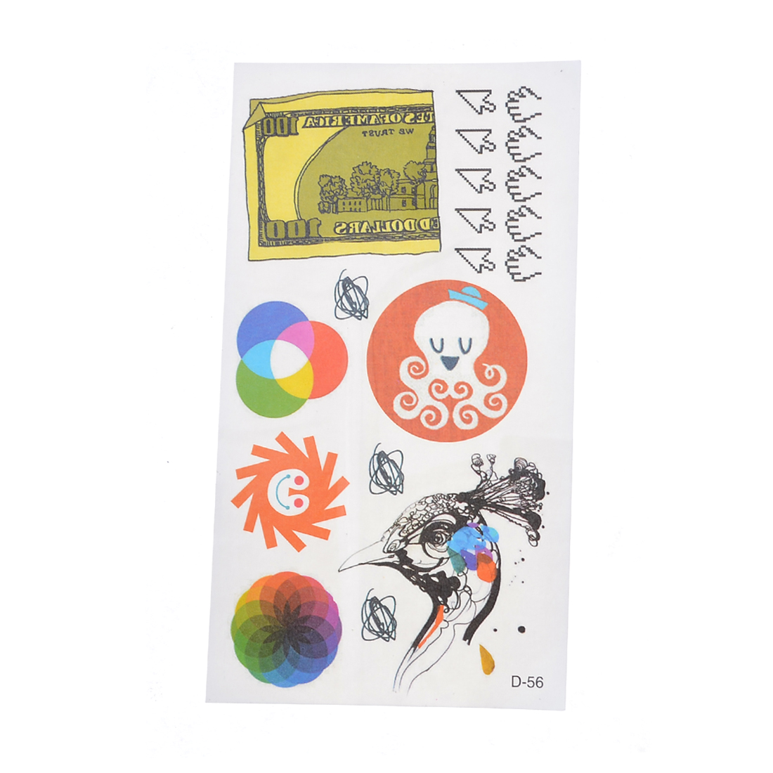 Money Peacock Inkfish Ornament Temporary Tattoos Body Stickers