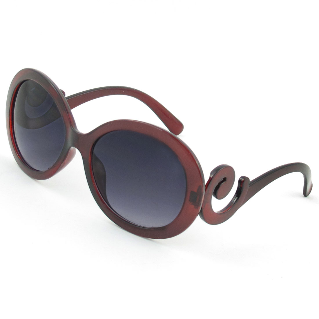 Burgundy Plastic Full Frame Swirl Temple Wide Arms Sunglasses for Woman