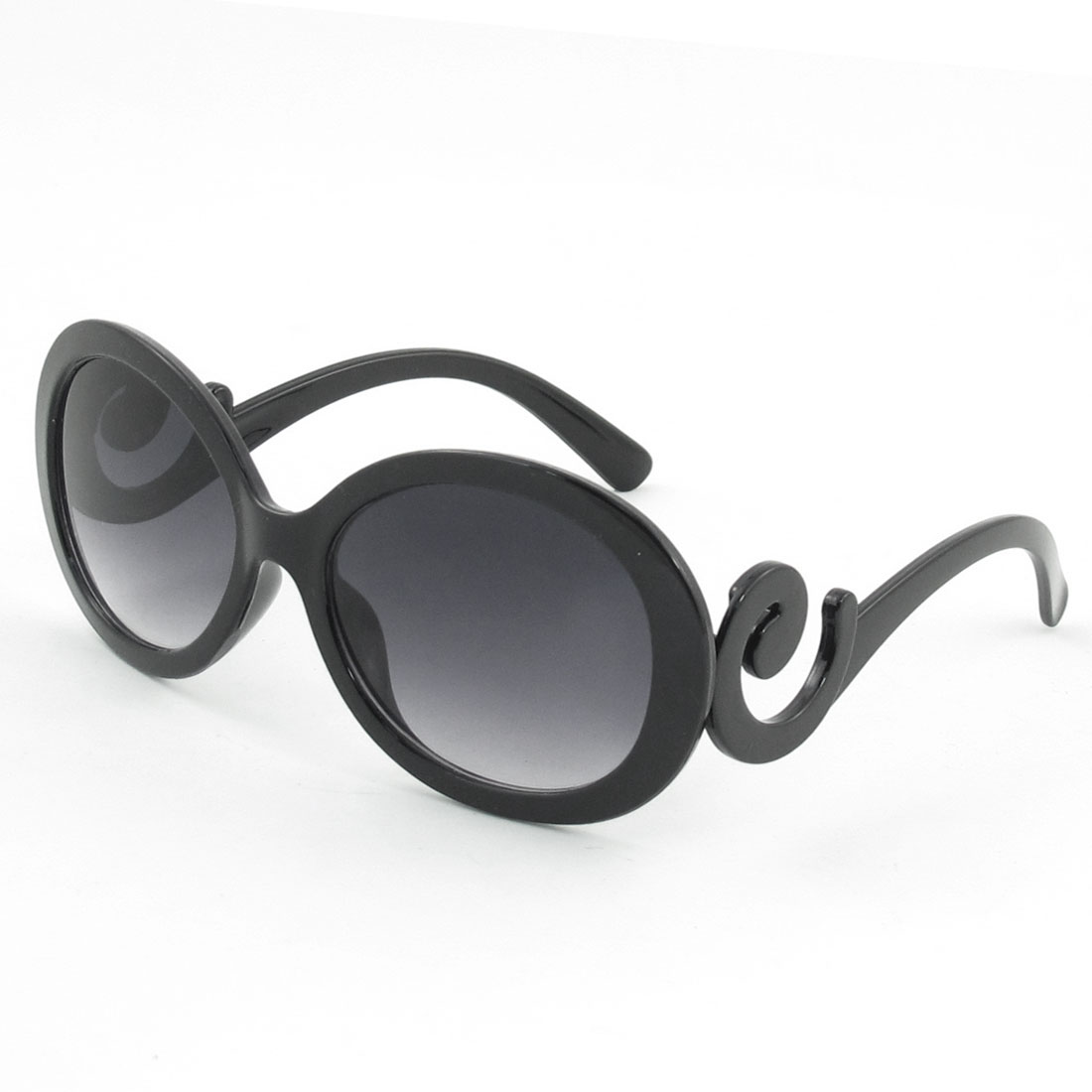 Black Plastic Full Frame Swirl Temple Wide Arms Sunglasses for Woman